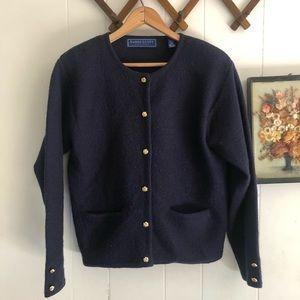 Vintage Midnight Blue Wool Cardigan
